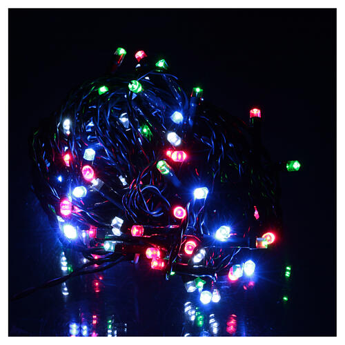 Battery powered Christmas lights, green wire 100 multi color LEDs 10 m 2