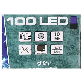 Luce Natalizia catena verde 100 led blu esterni batterie 10 m s4
