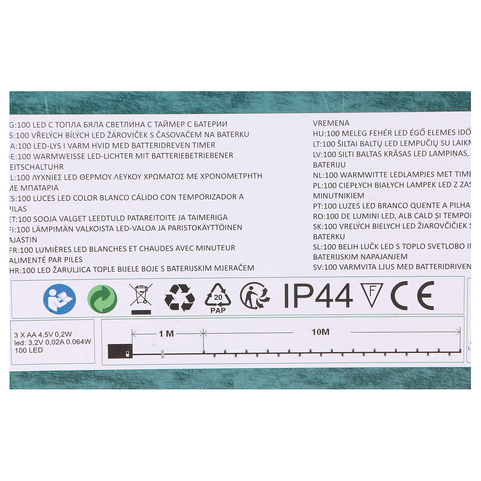 Luz Navideña cadena verde 100 led blancos cálidos exterior batería 10 m 3