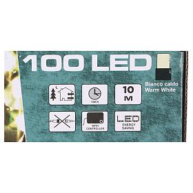 Luz Navideña cadena verde 100 led blancos cálidos exterior batería 10 m s4