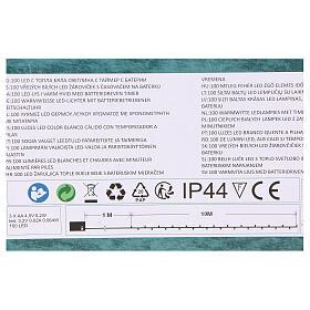 Luz Navideña cadena verde 100 led blancos cálidos exterior batería 10 m s5