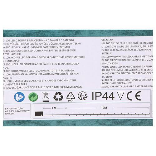 Luz Navideña cadena verde 100 led blancos cálidos exterior batería 10 m 5