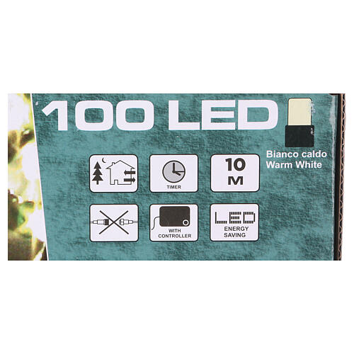 Battery powered Christmas lights green wire, 100 warm white LEDs 10 m 4