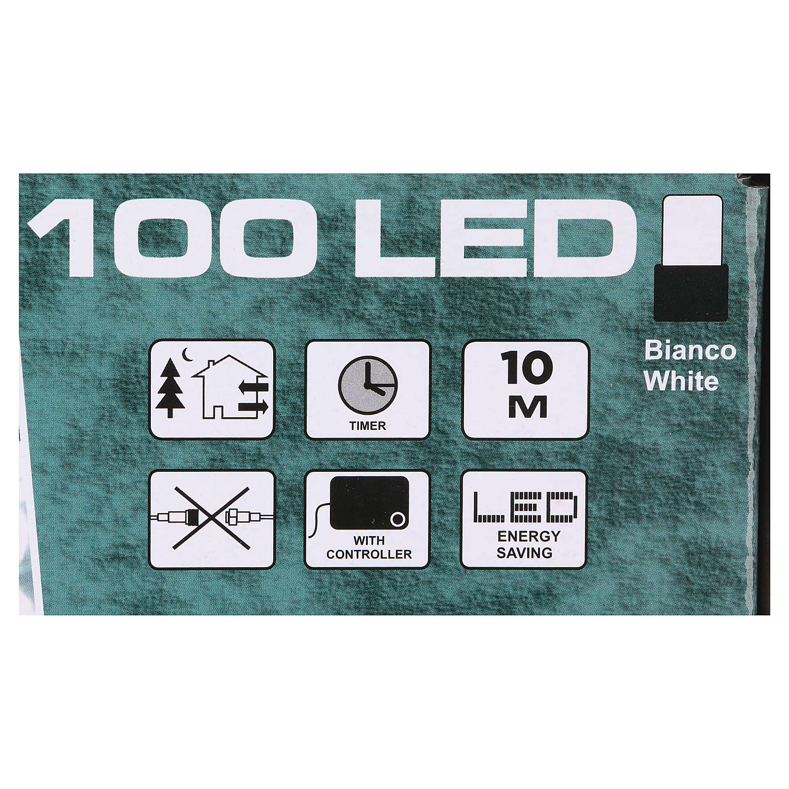 Luce Natalizia catena verde 100 led bianchi esterni batterie 10 m 3