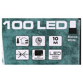 Luce Natalizia catena verde 100 led bianchi esterni batterie 10 m s4