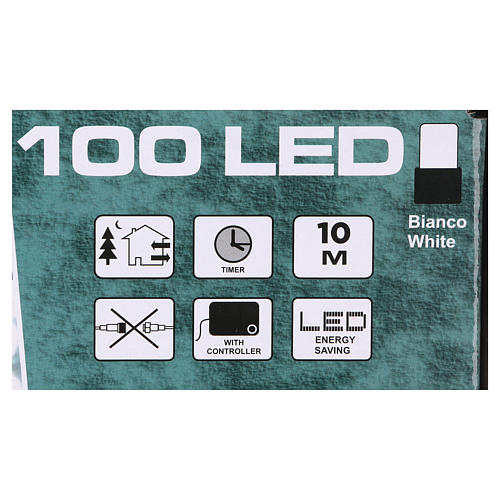 Luce Natalizia catena verde 100 led bianchi esterni batterie 10 m 4