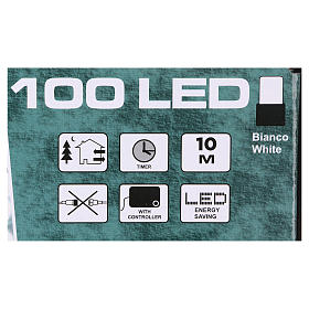 Battery operated Christmas lights green wire, 100 white LEDs 10 m s4