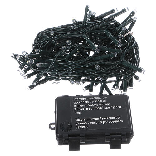 Battery operated Christmas lights green wire, 100 white LEDs 10 m 3