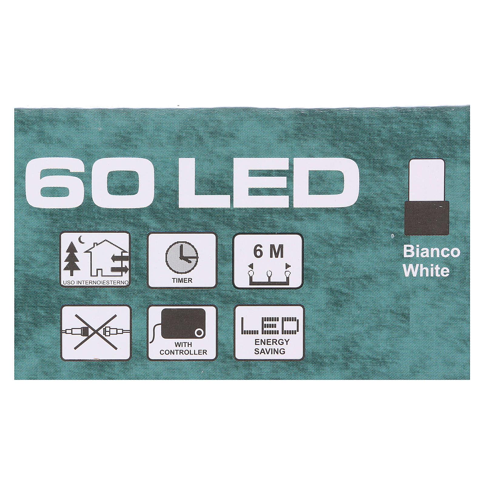 Luce di Natale catena verde 60 led bianchi esterni batterie 6 m 3