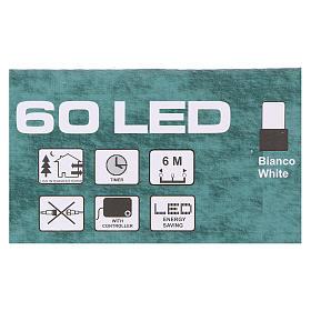 Luce di Natale catena verde 60 led bianchi esterni batterie 6 m s4