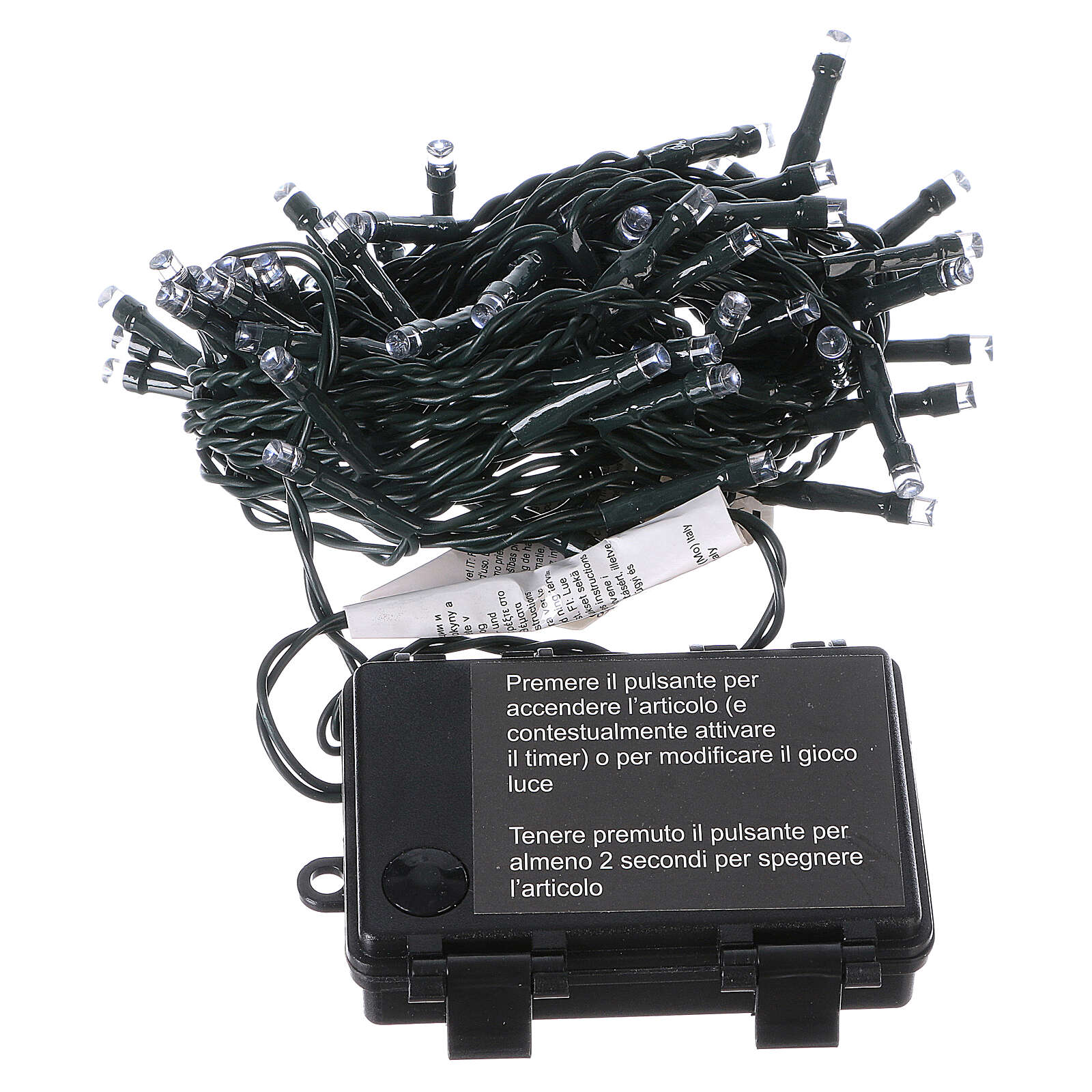 Battery powered Christmas lights green wire, 60 white LEDs 6 m 3