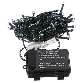Battery powered Christmas lights green wire, 60 white LEDs 6 m s3