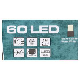 Luz de Navidad cadena verde 60 led blancos cálidos exterior batería 6 m s4