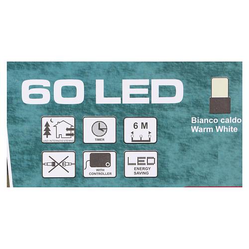 Luz de Navidad cadena verde 60 led blancos cálidos exterior batería 6 m 4