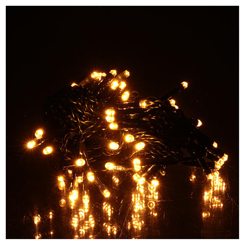 Luce di Natale catena verde 60 led bianchi caldi esterni batterie 6 m 2