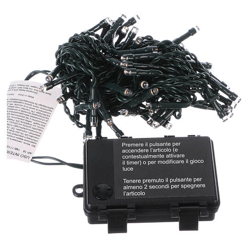 Battery powered Christmas lights green wire, 60 warm white LEDs 6 m 3