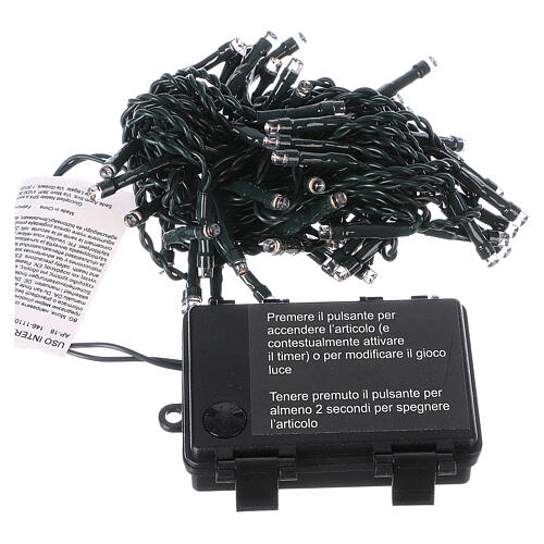 Battery powered Christmas lights green wire, 60 warm white LEDs 6 m 5