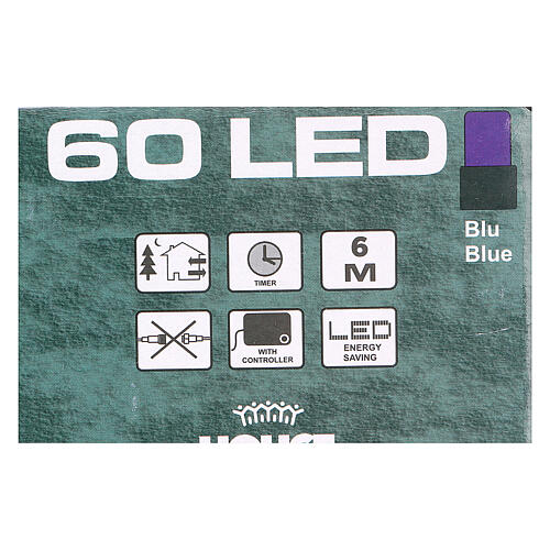 Luz de Navidad cadena verde 60 led azules exterior batería 6 m 3
