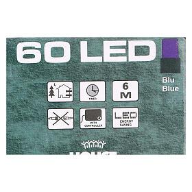 Luce di Natale catena verde 60 led blu esterni batterie 6 m s3