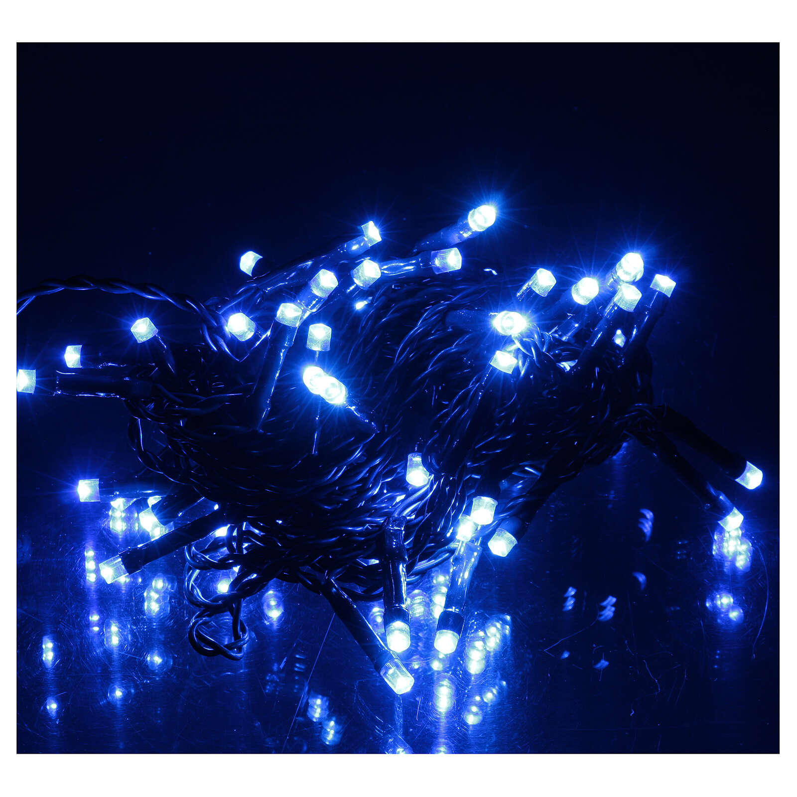 Battery operated Christmas lights green chain, 60 blue LEDs 6 m 3