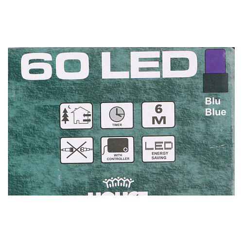Battery operated Christmas lights green chain, 60 blue LEDs 6 m 4