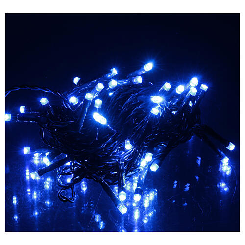 Battery operated Christmas lights green chain, 60 blue LEDs 6 m 1
