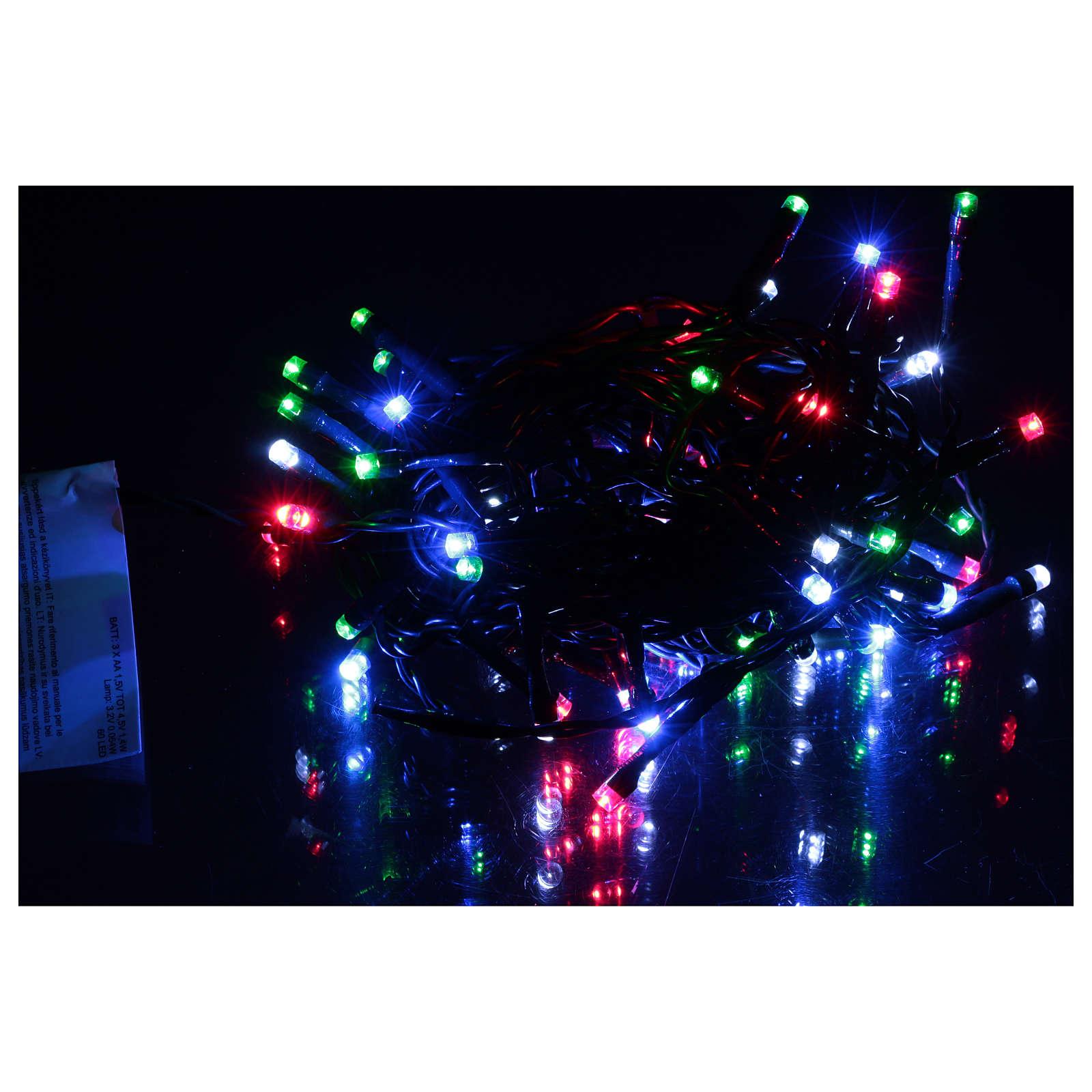 Luz de Navidad cadena verde 60 led multicolores exterior batería 6 m 3