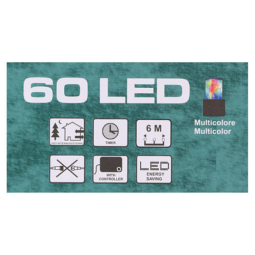 Luz de Navidad cadena verde 60 led multicolores exterior batería 6 m 5