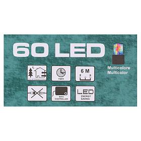 Luce di Natale catena verde 60 led multicolori esterni batterie 6 m s5