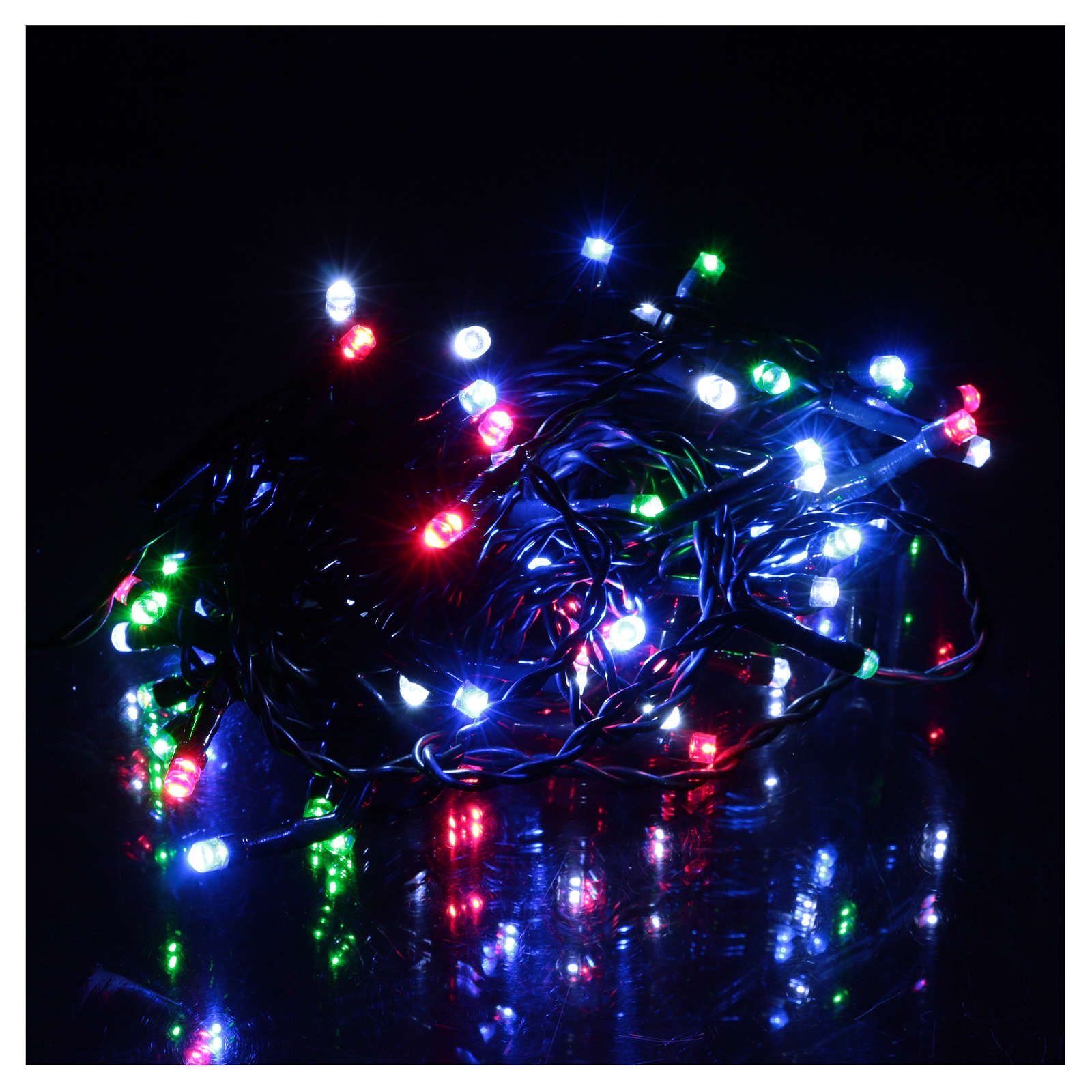 Battery powered Christmas lights green chain, 60 multi-color LEDs 6 m 3