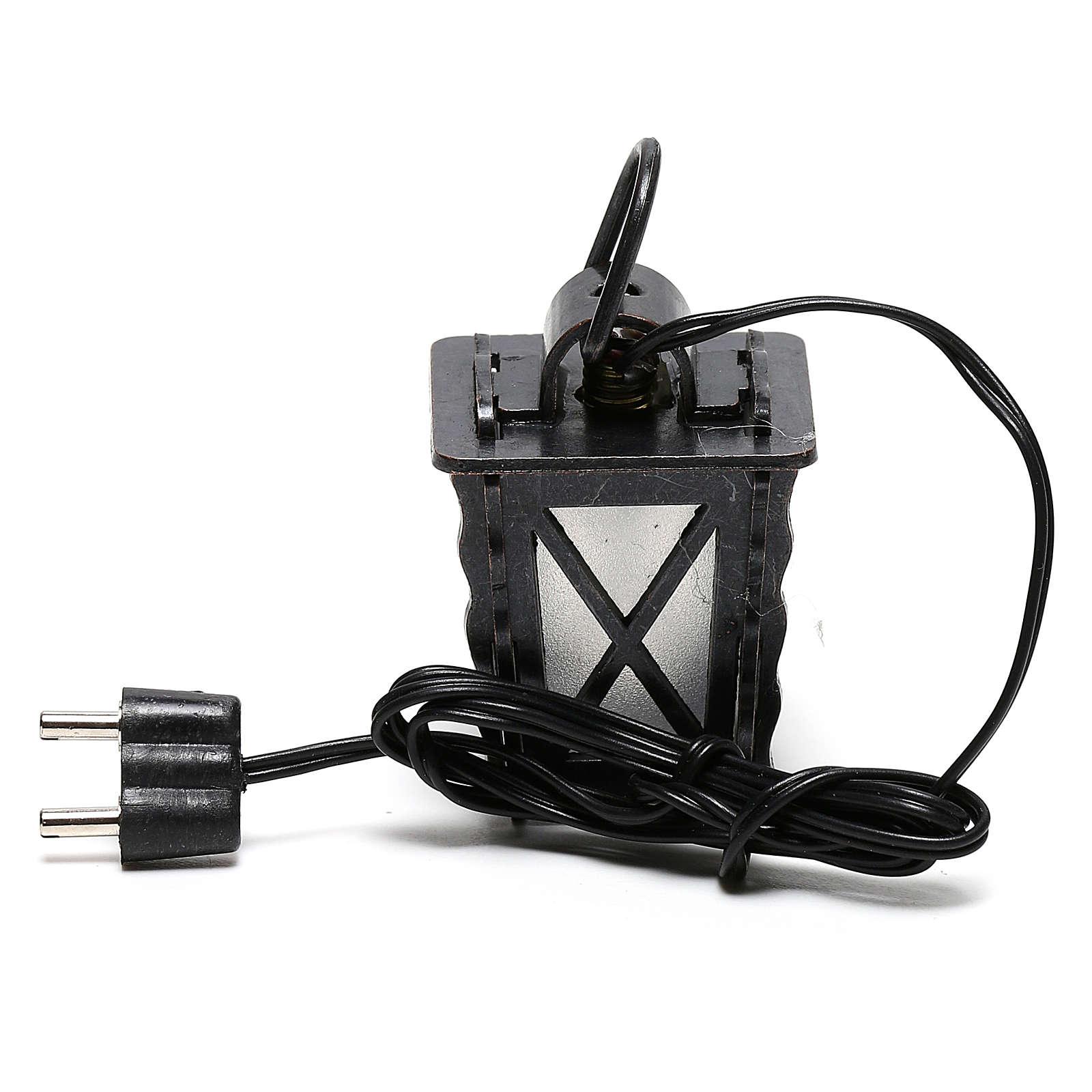 Lanterna in metallo con luce bianca h 4 cm presepe 8-10 cm bassa tensione 4