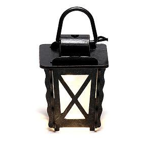 Lanterna in metallo con luce bianca h 4 cm presepe 8-10 cm bassa tensione s1