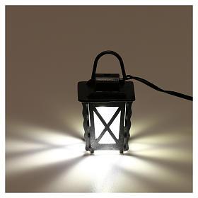 Lanterna in metallo con luce bianca h 4 cm presepe 8-10 cm bassa tensione s2