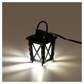 Lanterna in metallo con luce bianca h 4 cm presepe 8-10 cm bassa tensione s3