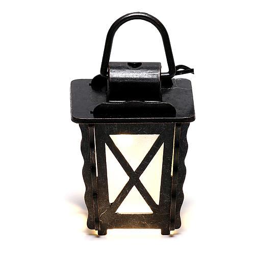 Lanterna in metallo con luce bianca h 4 cm presepe 8-10 cm bassa tensione 1