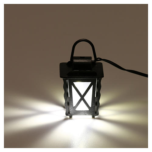 Lanterna in metallo con luce bianca h 4 cm presepe 8-10 cm bassa tensione 2