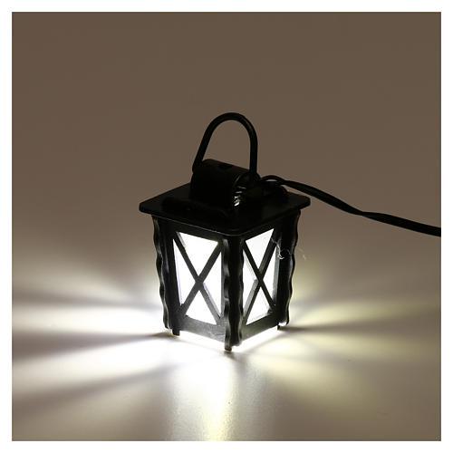 Lanterna in metallo con luce bianca h 4 cm presepe 8-10 cm bassa tensione 3