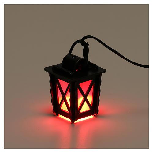 Linterna de metal con luz roja h 4 cm belén 8-10 cm baja tensión 3