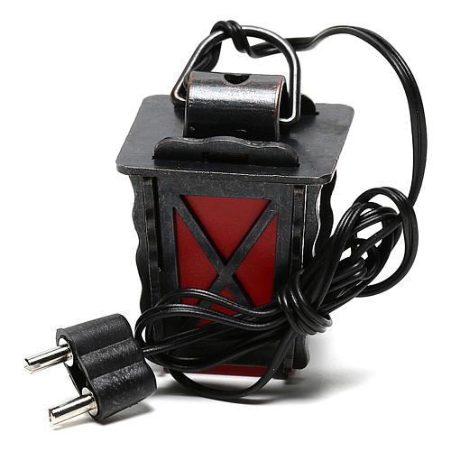 Linterna de metal con luz roja h 4 cm belén 8-10 cm baja tensión 4
