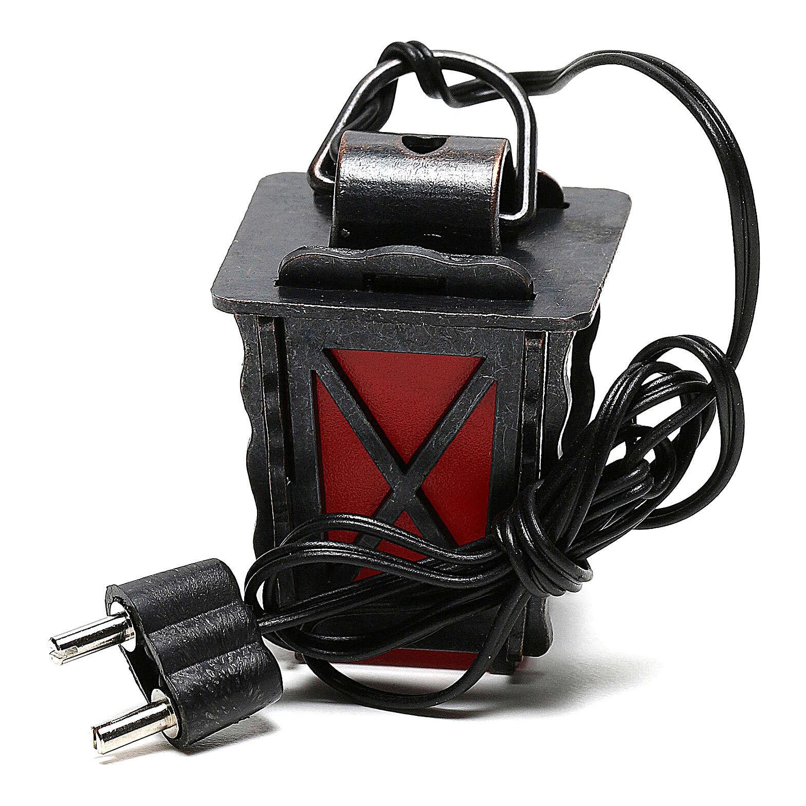 Lanterne en métal avec lumière rouge h 4 cm crèche 8-10 cm basse tension 4