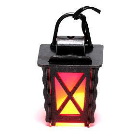 Lanterne en métal avec lumière rouge h 4 cm crèche 8-10 cm basse tension s1