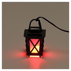 Lanterne en métal avec lumière rouge h 4 cm crèche 8-10 cm basse tension s2