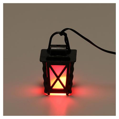 Lanterne en métal avec lumière rouge h 4 cm crèche 8-10 cm basse tension 2
