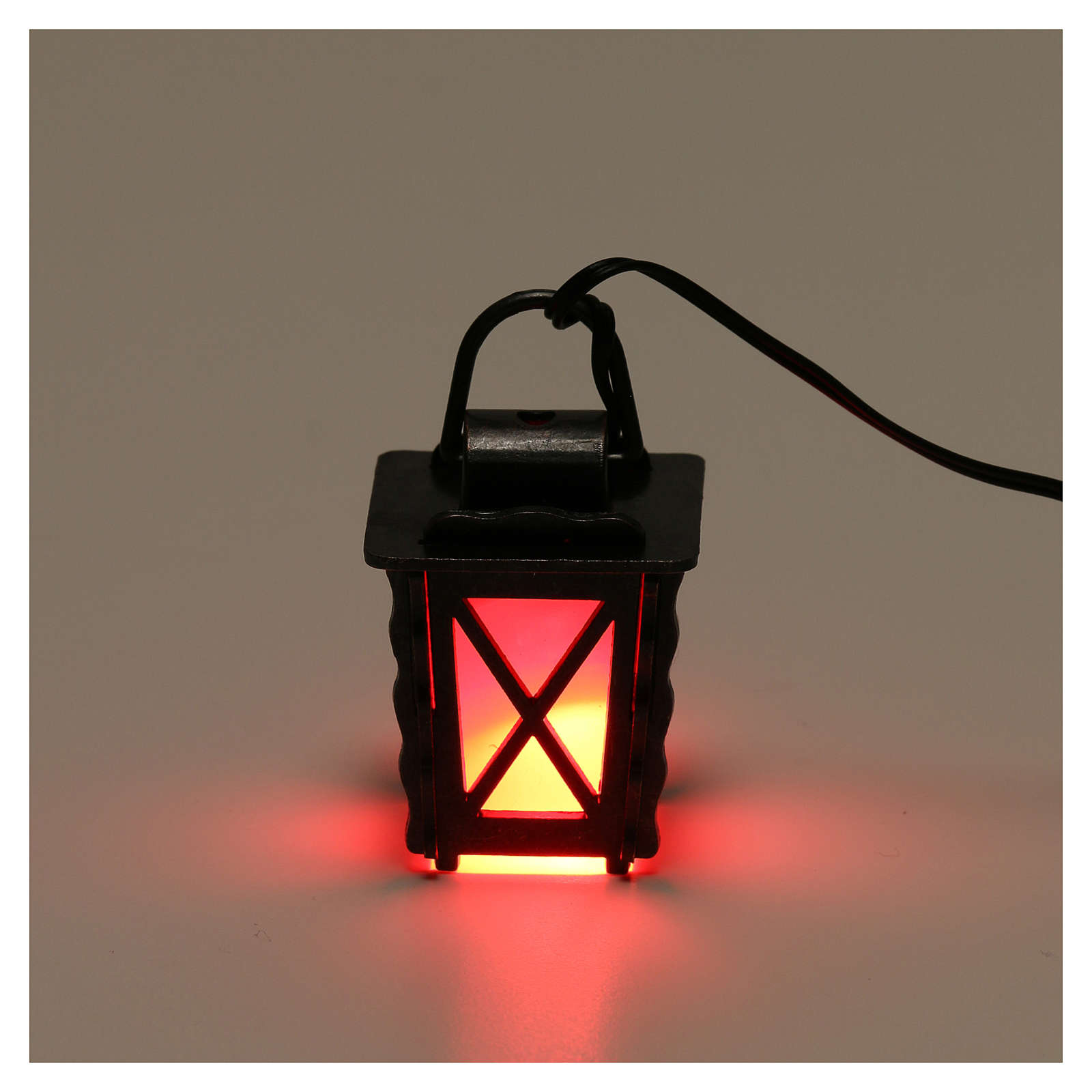 Metal lantern with red light h 4 cm, for 8-10 nativity low voltage 4