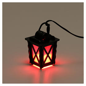 Metal lantern with red light h 4 cm, for 8-10 nativity low voltage s3