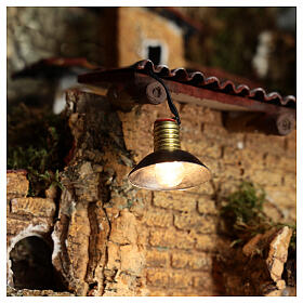 Lamp post with metal shade 3.5V, for 3 cm nativity low voltage s2