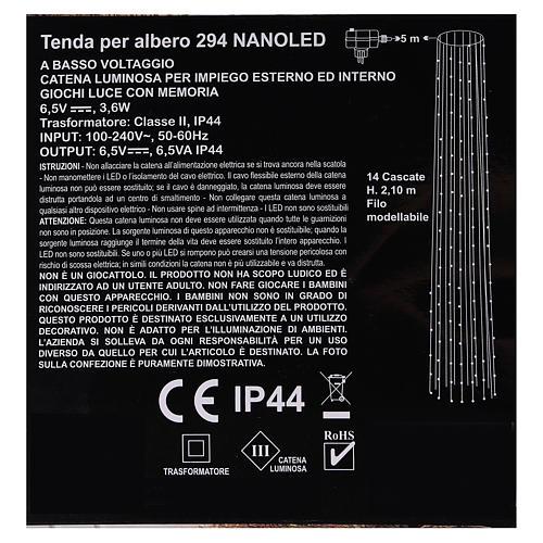Luci natalizie tenda 294 nanoled luce bianco caldo 220V 6