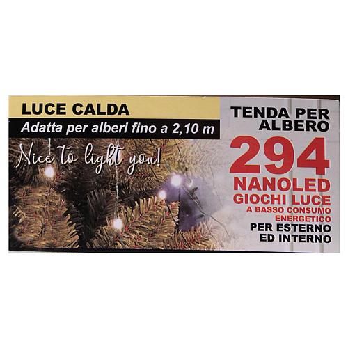 Luci natalizie tenda 294 nanoled luce bianco caldo 220V 7