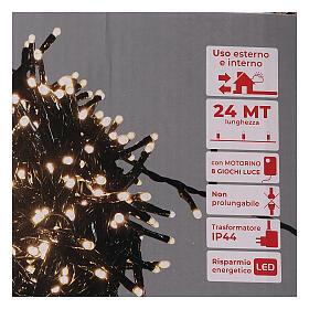 Chaîne 1200 LED blanc chaud avec jeu de lumières extérieur courant s5