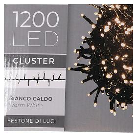 Chaîne 1200 LED blanc chaud avec jeu de lumières extérieur courant s6